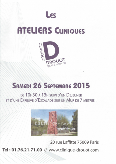 Atelier Clinique Invitation le 26 Septembre 2015